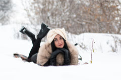 Nice girl outdoor in a winter Royalty Free Stock Photography