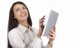 Nice girl with pad Stock Photos