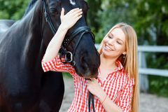 Nice girl palming purebred horse Royalty Free Stock Photo