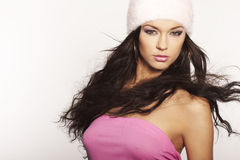 Nice girl with pink hat Royalty Free Stock Photography