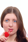 The nice girl with plush heart Stock Image
