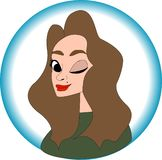 Nice girl portrait in cartoon style, illustration vector EPS10 royalty free illustration