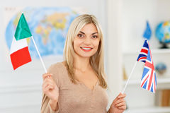 Nice girl preparing to travel Stock Image