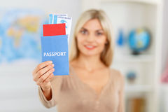 Nice girl preparing to travel Stock Photography