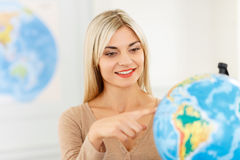 Nice girl preparing to travel Royalty Free Stock Photo