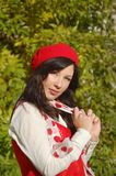 Nice girl in red beret Royalty Free Stock Photo