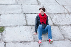 Nice girl in red scarf outdoor Royalty Free Stock Images