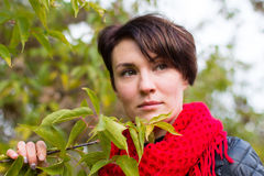 Nice girl in red scarf outdoor. In autumn day Royalty Free Stock Images