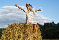 Nice girl relaxing on nature. Flap of beauty blond girl Stock Images