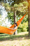 Nice girl resting in hammock Stock Image