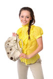 Nice girl with a a satchel. Woman in the yellow dress Royalty Free Stock Photos