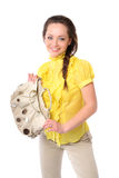 Nice girl with a a satchel. Woman in the yellow dress Stock Photography