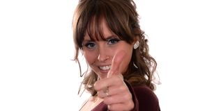 Nice girl showing thumb up Royalty Free Stock Images