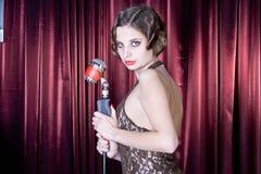 Nice girl sings Stock Photography