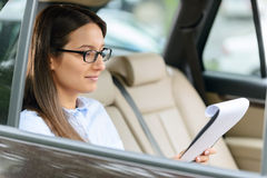 Nice girl sitting in the car Stock Photo