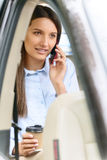 Nice girl sitting in the car Stock Image