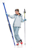 Nice girl with skis Royalty Free Stock Images