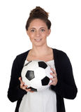 Nice girl with soccer ball Stock Photography