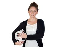 Nice girl with soccer ball Stock Images