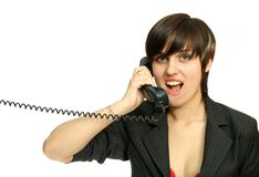 The nice girl speaks by phone Stock Image