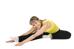 Nice girl stretching. Isolated on white Stock Photo