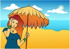 Nice girl with sun-umbrella. Illustration. Background for text. Summer. Vacation. Beach and sea Stock Photo