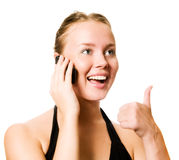 Nice girl on telephone Stock Images