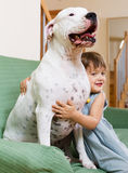 Nice girl toddler on couch with dog Royalty Free Stock Photography