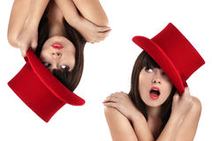 Nice girl with top hat red Royalty Free Stock Photos