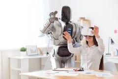 Nice girl using virtual reality device Royalty Free Stock Photos