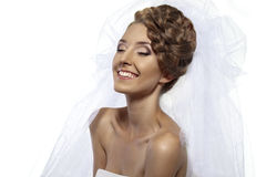 Nice girl with veil. With smile and happy on white background Stock Images
