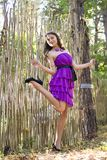 Nice girl in violet dress near wicker fence Royalty Free Stock Image