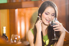 Nice girl and wineglass Royalty Free Stock Photos