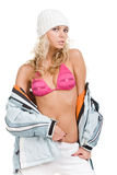 Nice girl in winter hat and in red brassiere Stock Photography