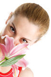 Nice Girl With A Pink Lily Stock Photo