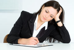 Nice girl working in the office Stock Photo