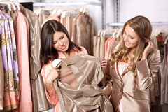 Nice girlfriends in shop Royalty Free Stock Photo