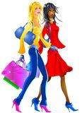 Nice Girls going to shopping. A couple of fashionable friends are going downtown to renew their wardrobe Stock Image