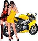 Nice girls and motorbike Stock Photos