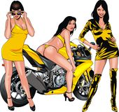 Nice girls and motorbike Stock Images