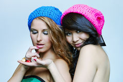 Nice girls posing in studio Royalty Free Stock Photography