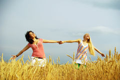 Nice girls took up their hands in the field Stock Photography