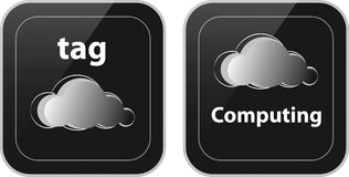 Nice glossy buttons made of black plastic. Pair of cloud tag and cloud computing buttons vector illustration