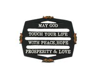 Nice God's blessing message carved on a metal frame Stock Image