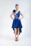 Nice going forward girl in bright dress Stock Photos