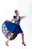 Nice going forward girl in bright dress Royalty Free Stock Images