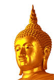 Nice golden Buddha face isolate. This picture is very nice golden Buddha face in isolate version Stock Photography