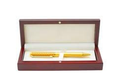 Nice golden pen in box Royalty Free Stock Photos