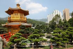 A nice golden temple in Nan Lian garden in Hong Kong. A nice golden temple and bonsai trees garden in Nan Lian park in Hong Kong. This park is one of the most Stock Photography