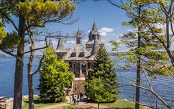 Nice gorgeous view of old vintage  Castle cold house located on heart island in the lake Royalty Free Stock Image
